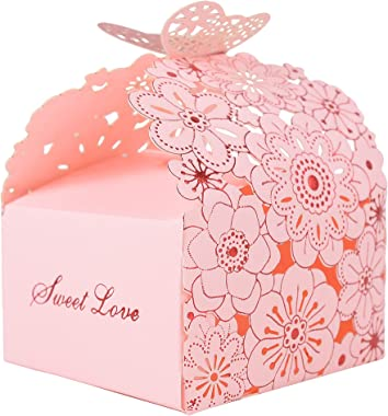 Wolfteeth 50pcs Party Favor Box Confetti Holder Hollow Paper Candy Box Cookie Gift Boxes Wedding Favors Cute Chocolate Box fo