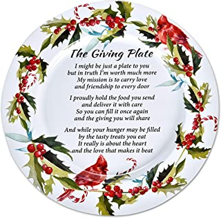 "Set of 4 Christmas Metal Tin Giving Plate with Poem 13"" Diameter for Friendship Plates for Friends and Family Holiday Sharing Cookie Serving Platters Winterberry Cardinal Design by Gift Boutique"
