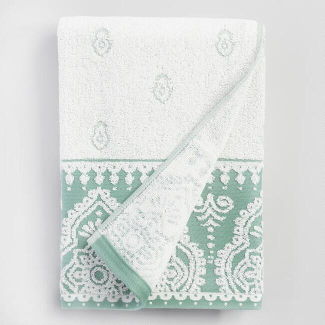 Ivory and Chinois Green Adilah Bath Towel | World Market