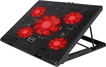 Kootek Laptop Cooler Cooling Pad, 5 Quiet Red LED Fans Up to 17 Inch Gaming Cooler Pad,..