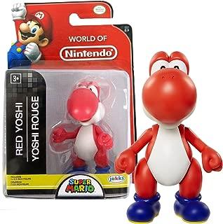 Nintendo Jakks Pacific Year 2016 World of Super Mario Series 2-1/2 Inch Tall Mini Figure - RED YOSHI