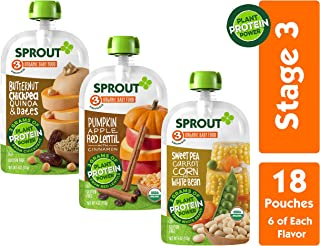 Sprout Organic Stage 3 Baby Food Pouches w/ Plant Powered Protein, Variety Pack, 4 Ounce (Pack of 18) 6 of Each: Butternut Chickpea Quinoa Date, Pumpkin Apple Lentil & Sweet Pea Corn Carrot White Bean