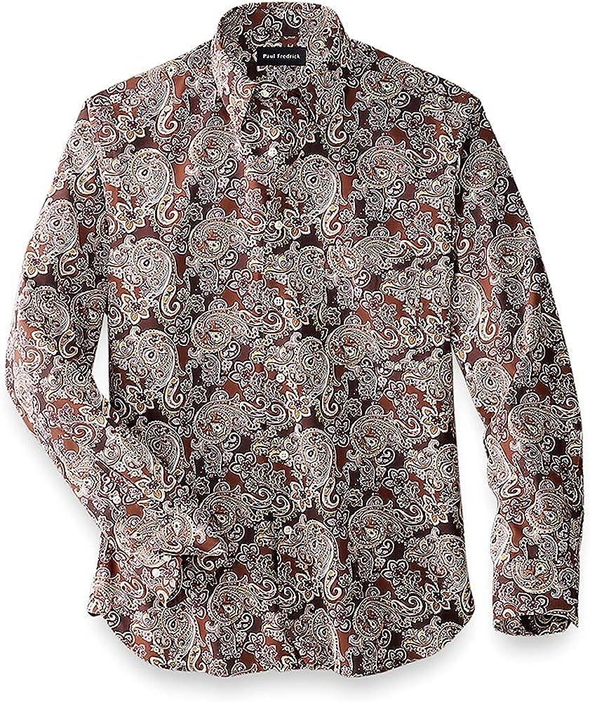 Paul Fredrick Men's Easy Care Cotton Paisley Casual Shirt, Brown Multi