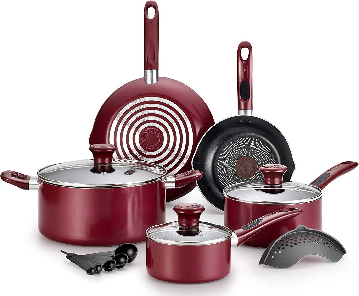 T-fal B039SE64 Excite ProGlide Nonstick Thermo-Spot Heat Indicator Dishwasher Oven Safe Cookware Set, 14-Piece, Red