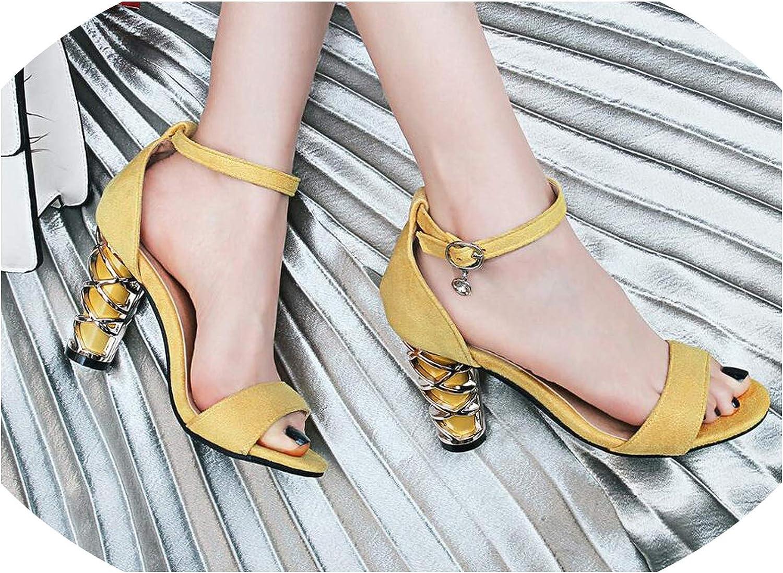Alerghrg Fish Mouth Women Sandals High Heels Square Buckle shoes Size 34-43 d1014