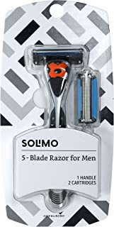 Best Amazon Brand - Solimo 5-Blade MotionSphere Razor for Men with Dual Lubrication and Precision Beard Trimmer, Handle & 2 Cartridges (Cartridges fit Solimo Razor Handles only) Review