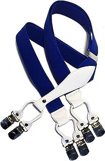BESTRAPS - Bretelle vintage da uomo - solide - Eleganti - 3,5 cm - Clip larghe - Lunghezza regolabile
