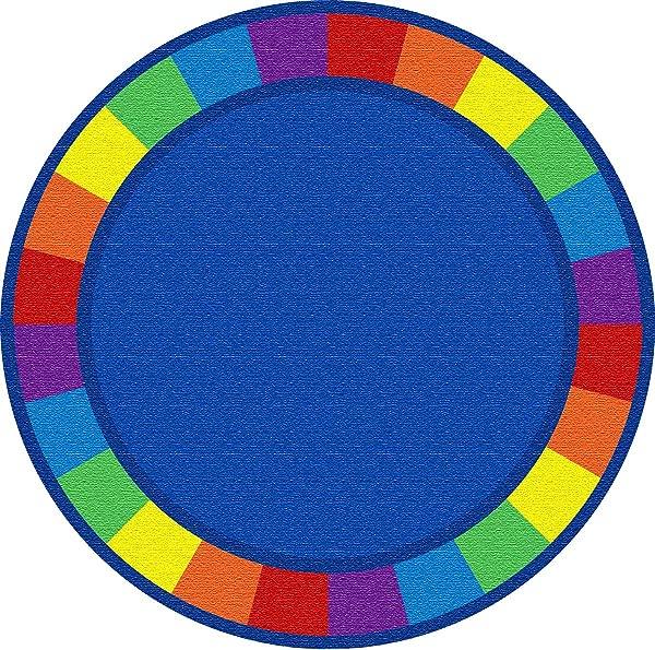 Kid Carpet FE82127A Colors Full Circle Round Nylon Area Rug 6 Multicolored