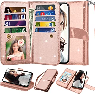 Njjex For iPhone X Case, For iPhone XS Wallet Case, Shiny Shimmering Powder PU Leather [9 Card Slots] Credit Folio Flip [Magnetic Detachable] Kickstand Phone Cover For iPhone X 2017/XS 2018 -Rose Gold