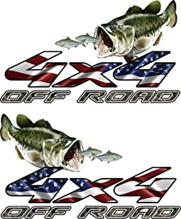 avgrafx 4x4 Truck Offroad Decal Cast Vinyl Camo American Flag Bass Chasing Shad Laminated 13x7.50 Inches