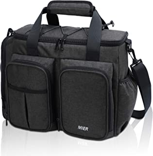 MIER Large Insulated Lunch Bag for Men Women Leakproof Soft Cooler Bag with Multiple Pockets, 20 Can, Rectangle, Dark Gray