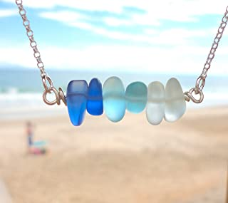 Beautiful Sea Glass Ombre Bar Necklace-With FREE Matching Sea Glass Bracelet-Shades of Blue Sea Glass Necklace-Sterling Silver Adjustable 16
