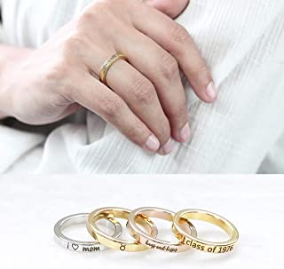 Personalized Ring Graduation Gift Stacking Engraved Ring Name Ring Monogram Jewelry Custom Coordinate Ring Gift for Mom High School College Graduation - R4