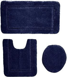 AmazonBasics 3 Piece Sculpted Bath Mat Set - Dark Blue