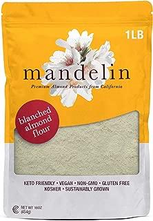 Mandelin Fresh Blanched Almond Flour - 1 lb 100% Almond Flour / Meal, Super Fine Mill, Non-GMO, Gluten Free, Vegan, Keto, Plant Based Diet Friendly (16 oz)