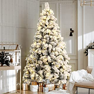 6FT LED Christmas Tree 1.8M Prelit Xmas Faux Snowy Tree w/ Warm White LED Jingle Jollys Holiday Lighted Decoration Indoor ...