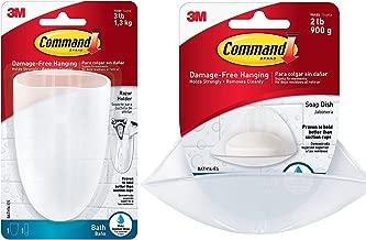 Command Soap Dish, Clear Frosted, 1-Dish, 2-Water-Resistant Strips (BATH14-ES) With Command BATH16-ES-E Razor Holder, Clear Frosted, 1-Holder, 1-Medium Water-Resistant Strip (BATH16-ES)