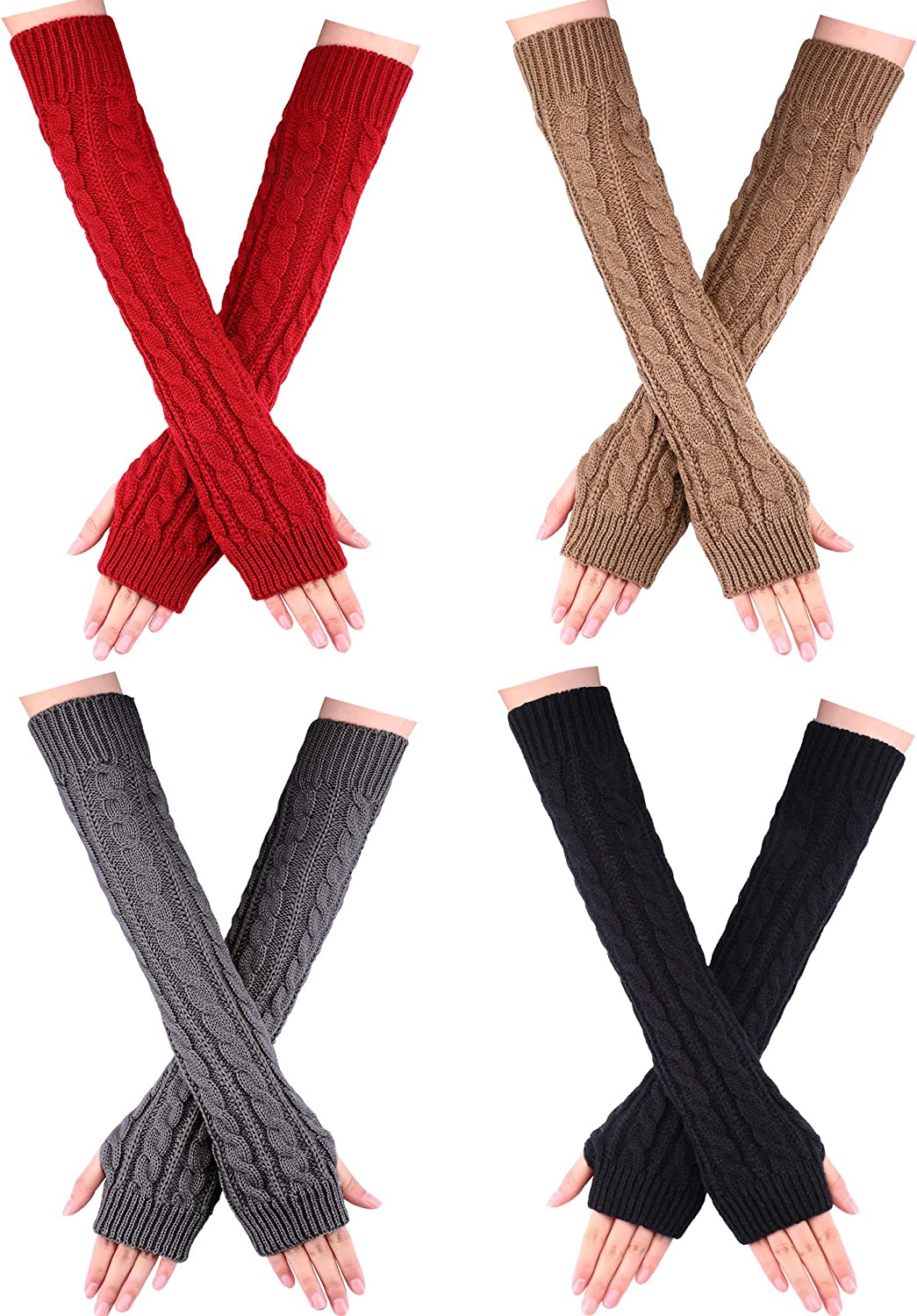 4 Pairs Women Long Fingerless Gloves Winter Mitten Arm Gloves with Thumb Hole for Winter (Black, Wine Red, Khaki, Dark Grey, Polyester)