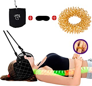 Neck Back Pain Hammock by CleverTom Plus Massager Ring for fingers and Eye Mask- therapy for Relief of Necks | Head or Shoulders Pain-No Stress and Tension - Gift for Body and Muscles -Use Anywhere