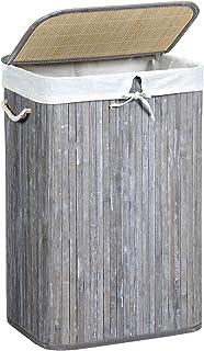 Bagno SONGMICS Cesto Portabiancheria Intrecciato a Mano Organizzatore per Vestiti Telaio Metallico Grigio LCB50GW Soggiorno Sacco Rimovibile Coperchio 45,5 x 32 x 51,5 cm Cesta per Lavanderia