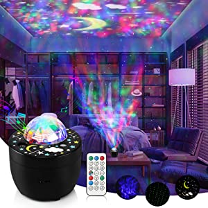 Star Projector Night Light for Kids, 3-in-1 Galaxy Projector Water Wave Projector Lamp with Remote, Timer & 8 White Noises for Bedroom Party Home Decor, Birthday Gifts for 2-10 Years Old Boys Girls