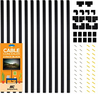 Cable Concealer On-Wall Cord Cover Raceway Kit - 12 Black Cable Covers - Cable Management System to Hide Cables, Cords, or Wires - Organize Cables to TVs and Computers at Home or in The Office