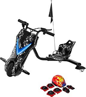 Toy&Joy Drifting Electric Scooter Black with Helmet Pad Set, Knee and Elbow Pads 36V, 27.3CBM, KD06