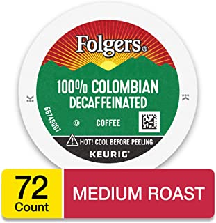 Folgers 100% Colombian Decaf Coffee, Medium Roast, K Cup Pods for Keurig Coffee Makers, 72 Count