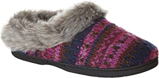 Womens Lurex Faux Fur Slippers
