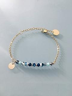 Donna bracciale gourmet magiche pietre naturali Swarovski e perle heishi placcate oro 24 k, braccialetto d'oro, gioielli r...