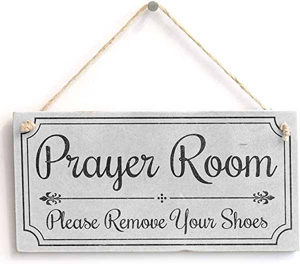 Prayer Room Please Remove Your Shoes Door Sign Handmade Shabby Chic Wooden Door Sign Plaque Wooden Hanging Sign 4 X 8