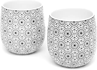 Dobbelt Set of 2 Double Walled Coffee Cups, 6 Ounce, Circle Pattern - Insulated Ceramic Mugs for Latte, Cappuccino, Tea - Modern, Contemporary, Art Deco Design - Box Set, by Kop & Hagen