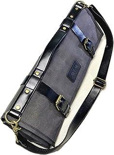 Chef Knife Roll - Knife Bag - Waxed Canvas & PU Leather - Adjustable Shoulder Strap - Dark Oak - Handmade Vintage Style 1...