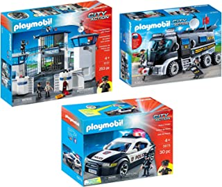 PLAYMOBIL City Action Police 3 Box Set Bundle with Police...