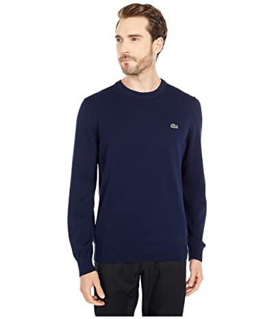 Lacoste Long Sleeve Crew Neck Sweater (Navy Blue) Men