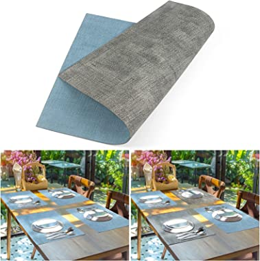 Leather Heat Resistant Placemats for Dining Table, Table mats Set of 6, Waterproof PU Kitchen Place mats, Soft and Non-Slip L