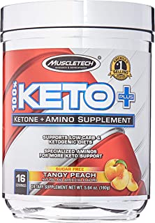 Muscletech 100% Keto Plus 16 Servings Tangy Peach, 5.64 Ounce