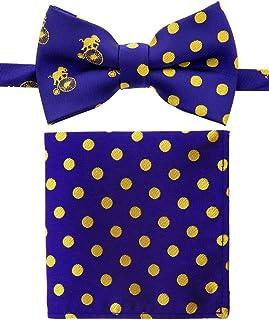 رابطة عنق للأولاد ومربوطة مسبقًا على شكل دائرة الفيل من كاناكانا مع جيب مقلم