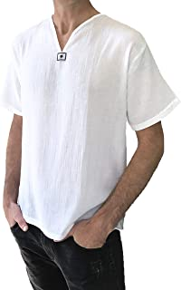 Love Quality Men's Short Sleeve Shirt 100% Cotton Hippie Yoga Shirt