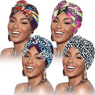 4 Piezas Turbantes para Mujer Gorro Turbante de Nudo Pre-Atado con Patrón Africano