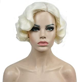 Lydell Vintage Cosplay Party Wig Short Finger Wavy Flapper Hairpiece +Free Wig Cap (#613A White Blonde)