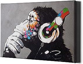 Denken Aap Hoofdtelefoon Canvas Muur Art Print - Banksy Dj Gorilla Denker Kwekerij Grote ingelijste Decor Muziek Graffiti ...