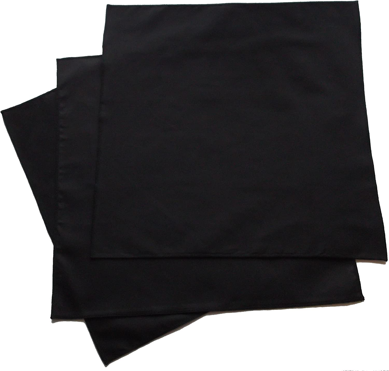 Organic Handkerchiefs Co, Men's Black Bandannas, Solid, Organic Cotton Pack of 3