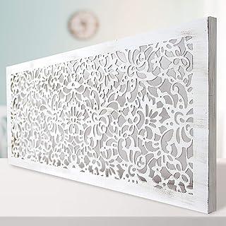 comprar comparacion -Mandala de Pared Calada, Fabricada artesanalmente en España- Mandala 3D Cuadrada Pintada a Mano- Modelo Mosaico 154 (Blan...