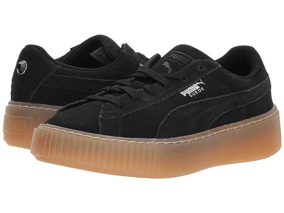 Puma Kids Suede Platform Jewel (Little Kid) (Puma Black/Puma Black) Girls Shoes
