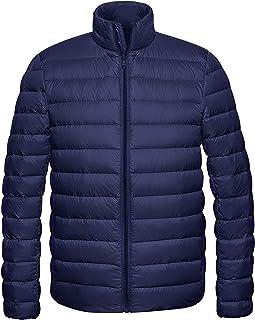 Wantdo Men's Packable Down Jacket Stand Collar Lightweight Winter Puffer Coat