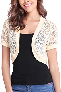 Abollria Women Short Sleeve Floral Lace Shrug Open Front...