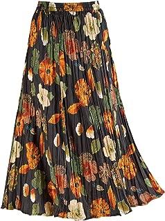 LA CERA Women's Floral Red/Black Reversible Skirt - Cotton Crinkle Broom Skirt