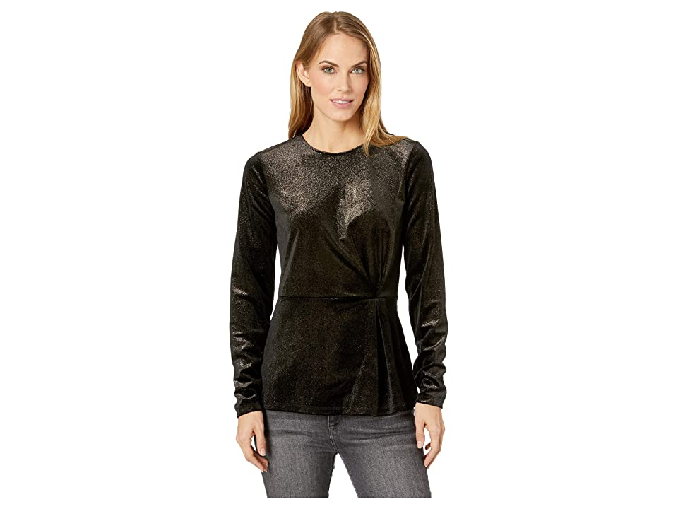 MICHAEL Michael Kors Gathered Crew Neck Long Sleeve Top (Black/Gold) Women's Clothing