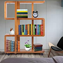 Kendal 4 Tiers Wood Bookshelf Rack Organizer with Dismountable Construction and Lockable Casters, 31.3